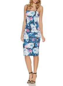 Navy Flower Print Strap Midi Dress