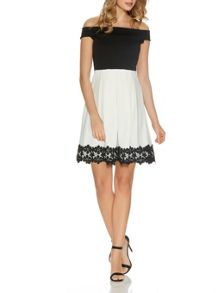 Black Pleated Bardot Skater Dress