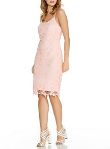 Quiz Pink Crochet Lace Strap Midi Dress