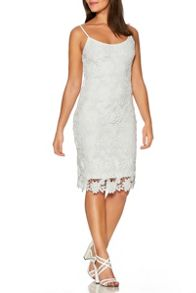 Quiz White Crochet Lace Strap Midi Dress