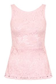 Quiz Pink Crochet Lace Peplum Top