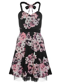 Black Flower Print Halterneck Dress