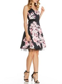 Quiz Black Flower Print Halterneck Dress