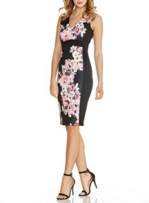 Black Flower Print Panel Dress