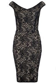 Quiz Black And Stone Lace Bodycon Dress