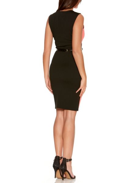 Quiz Coral And Black Peplum Belt Dress