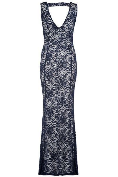 Quiz Navy Swirl Lace Fishtail Maxi Dress