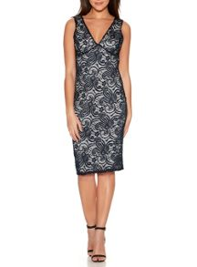 Quiz Navy Swirl Lace V Front Midi Dress