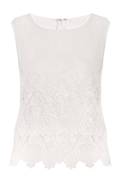 Quiz  Cream Lace Georgette Top