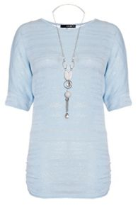 Quiz Pale Blue Silver Necklace Top