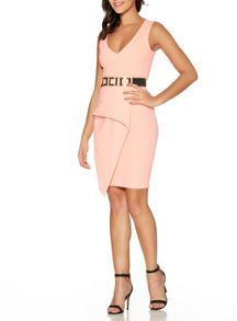 Quiz Coral V Neck Peplum Bodycon Dress