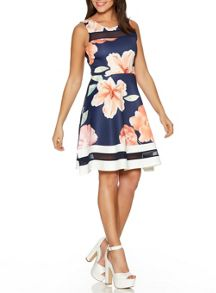 Quiz Navy Flower Print Mesh Skater Dress