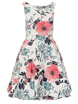 Cream And Coral Satin Skater Dress