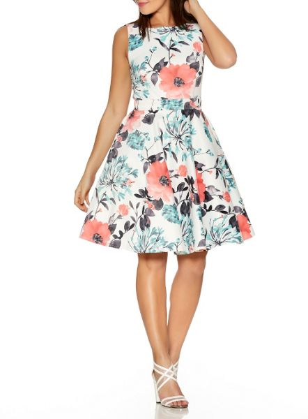 Quiz Cream And Coral Satin Skater Dress