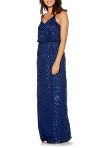 Quiz Navy Sequin V Neck Strappy Dress