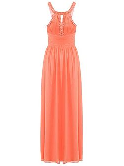 Coral Pleated Cut Out Maxi Dress