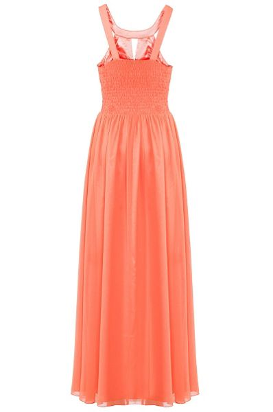 Quiz Coral Pleated Cut Out Maxi Dress
