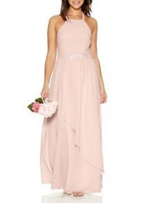 Quiz Blush Diamante Trim Maxi Dress