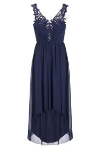 Quiz Navy Embroidered Dip Hem Dress