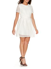 Quiz Cream Honeycomb Stripe Skater Dress