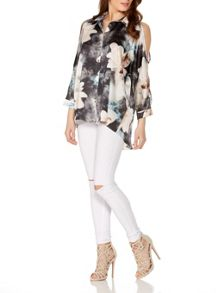 Quiz Flower Print Cold Shoulder Top