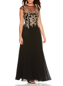 Quiz Black Mesh Embroidered Maxi Dress