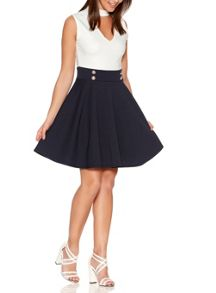 Quiz Cream Turtle Neck Skater Dress