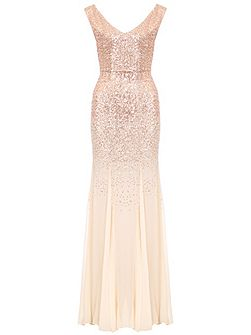 Champagne V Neck Maxi Dress