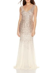 Quiz Champagne V Neck Maxi Dress