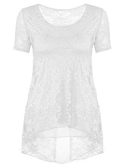 Cream Lace Chiffon Hem Top