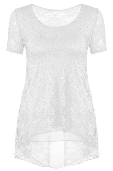 Quiz Cream Lace Chiffon Hem Top