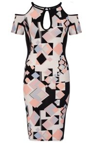 Quiz Cream Geometric Print Midi Dress