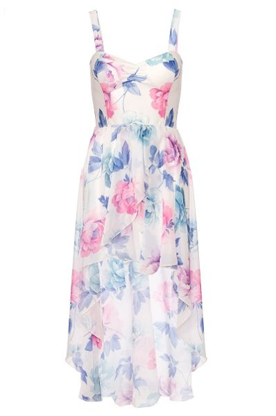 Quiz Cream Flower Print Dip Hem Dress