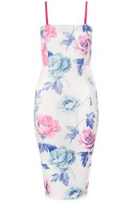 Quiz Cream Flower Print Midi Dress