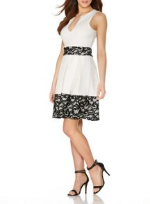 Quiz Cream And Black Lace Skater Dress