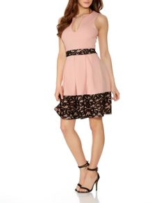 Quiz Pink And Black Lace Skater Dress