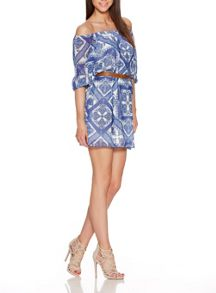 Quiz Blue Tile Print Bardot Belt Dress