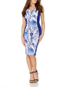 Quiz Blue Bardot Contrast Midi Dress