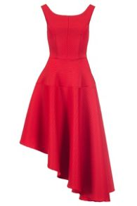 Quiz Red Ribbed Asymmetrical Hem Dress