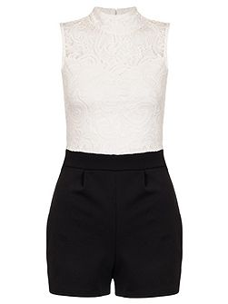 Lace Turtle Neck Playsuit