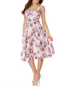 Quiz Pink Satin Flower Print Prom Dress