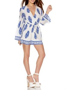 Quiz White Print Cross Over Playsuit