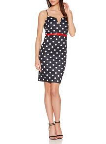 Quiz Black Polka Dot Midi Dress