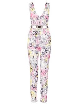 Cream Crepe Flower Print Jumpsuit