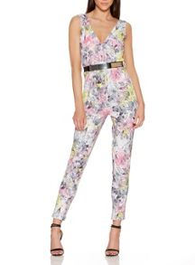 Quiz Cream Crepe Flower Print Jumpsuit