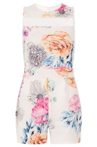 Quiz Cream Flower Print Playsuit
