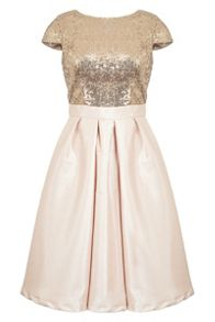 Quiz Champagne Sequin Satin Dress