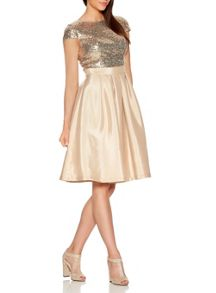 Quiz QUIZ Champagne Sequin Satin Dress