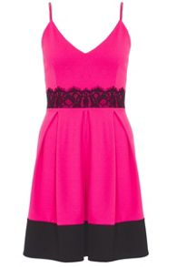 Quiz Pink Crepe Lace Detail Skater Dress