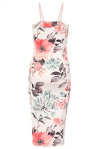 Quiz Cream & Coral Flower Print Bodycon Dress